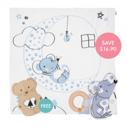 Kippins Luna Story-print Wrap Set (FREE Wooden Teether)