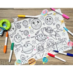 Reusable Silicone Colouring Mat by Our Button Nose 40cm x 30cm (Space Explorer)
