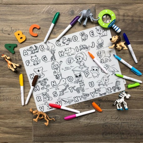 Reusable Silicone Colouring Mat 40cm x 30cm (Learning ABC Series)