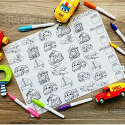 Reusable Silicone Colouring Mat 40cm x 30cm (How Many Vehicles)