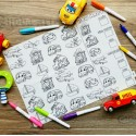 Our Button Nose Reusable Silicone Colouring Mat 40cm x 30cm (How Many Vehicles)