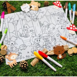 Reusable Silicone Colouring Mat 40cm x 30cm (Woodlands Animal)