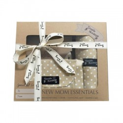 Double Monkeys Gift Set A (Classic Breastfeeding Cover + Diaper Case + Changing Mat)
