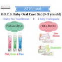 ROCS Baby Natural Toothpaste + Toothbrush XYLITOL NO FLUORIDE