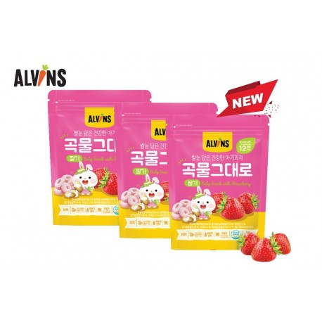 ALVINS Korean Rice Snack (Strawberry) x 3 Pkt
