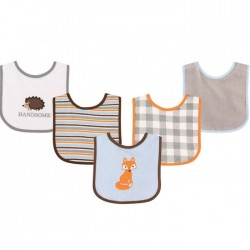 Luvable Friends 5 Pieces Drooler Baby Bibs (Fox)