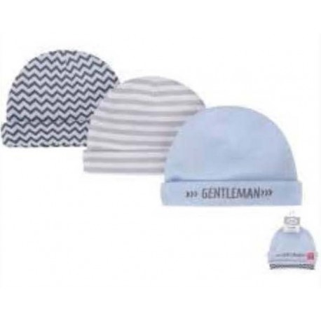 Hudson Baby 3 piece Gentleman Baby Boy Beanie Caps Set