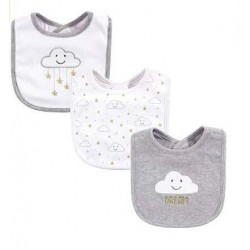 Yoga Sprout 3 pieces Grey Baby Drooler Bibs -Clouds (56030)