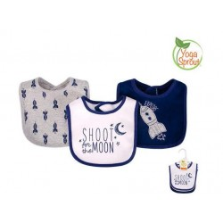 Yoga Sprout 3 Pieces Baby Drooler Bibs (Rockets)
