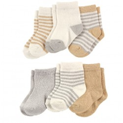 Luvable Friends Organic 6 Pieces Cotton Socks Neutral