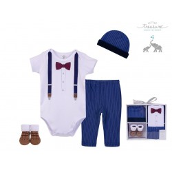 Little Treasure 4 Pieces Baby Clothing Gift Set - Navy Suspension