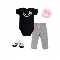 Little Treasure 4 Pieces Baby Clothing Gift Set - Black/ Pink Pearl Necklace 77004