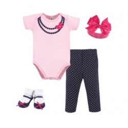 Little Treasure 4 Pieces Baby Clothing Gift Set - Pink with Black Pearls Necklace 77005