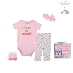 Little Treasure 4 Pieces Baby Clothing Gift Set - Everyday I'm Sparkling 77007