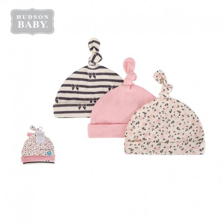 Hudson Baby Knot Beanie Caps - Pink Foral 52308