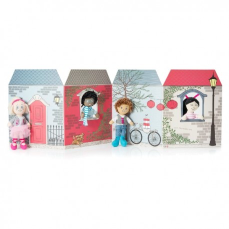 Bambino Doll Set 4 Dolls & Folding House