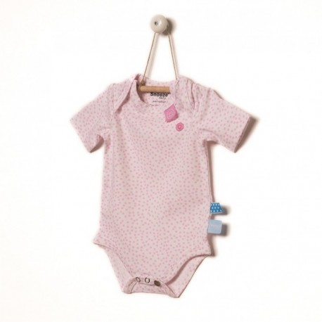 Snoozebaby Short sleeve Romper in Pink dot - 0 months