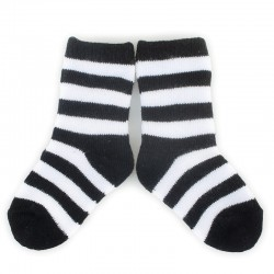 PLUSH Stay on socks (0-2yrs)-Black with White Stripes