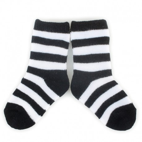 PLUSH® Stay on socks (0-2yrs) - Black with White Stripes