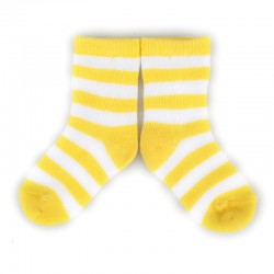 PLUSH Stay on socks (0-2yrs)-Yellow with White Stripes