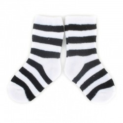 PLUSH Stay on socks (0-2yrs) - White with Black Stripes