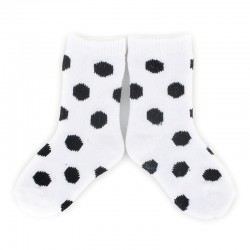 PLUSH Stay on socks (0-2yrs) - White with Black Dots