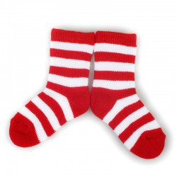 PLUSH Stay on socks (0-2yrs) - Red with White Stripes
