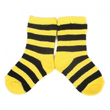 PLUSH® Stay on socks (0-2yrs) - Yellow with Black Stripes