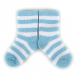 PLUSH Stay on socks (0-2yrs) - Blue with White Stripes