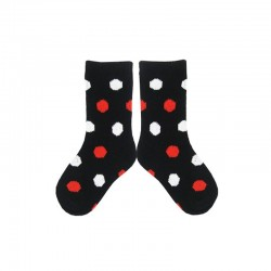 PLUSH Stay on Socks (4-8yrs) - Black with White/Red Dots