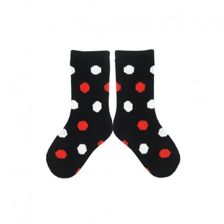 PLUSH® Stay on Socks (4-8yrs) - Black with White/Red Dots