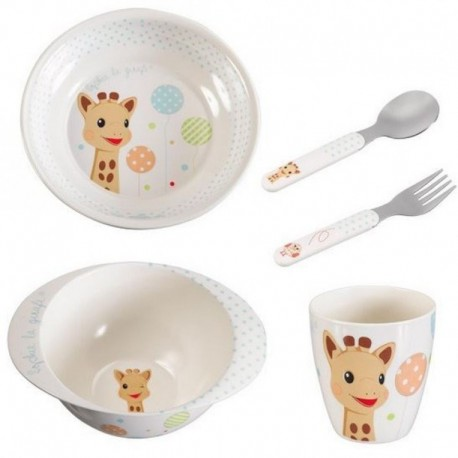 Sophie la girafe meal-time set (a plate, a bowl, a cup and a cutlery set) - balloon version (blue)