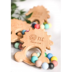 The Lil Cub Wooden Teether with Silicone Beads