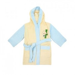 Bebe Bamboo 100% Bamboo Bathrobe Yellow/Blue (0-2YRS)