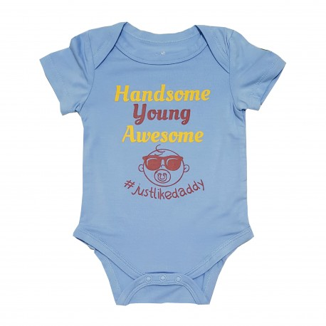 Bebe Bamboo  Cute Saying Onesie - Handsome, Young, Awesome justlikedaddy