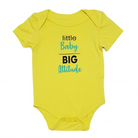 Bebe Bamboo  Cute Saying Onesie - Little Baby, Big Attitude