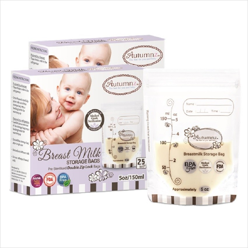 1fda862ff8 Autumnz Double ZipLock Breast Milk Storage Bag (25  bags Box)-5oz 7oz 12oz-(2 boxes)  BPA FREE